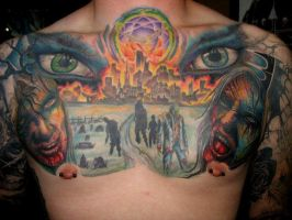 Zombie Apocolypse chest tattoo by JasonRhodekill