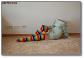 Invisible Girl Rocks Rainbow Socks by misterdoe