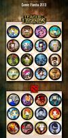 Comic Fiesta 2013 League of legend and Dota2 badge by Xsaye