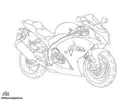 Suzuki sports motorcycle - lineart by AkiDIDmorning