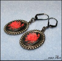 Red Rose Cameo Earrings by 1337-Art