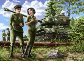 Soviet crew of the IS-2 by Nakamoora