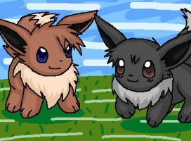 Eevees by DragonessBahamut