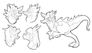 Wolf Dino Doodles by secoh2000