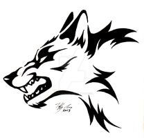 Snarling Wolf Head Tattoo by CaptainMorwen