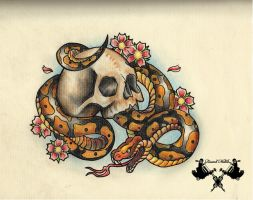 tattoo-flash skull and snake by Tausend-Nadeln