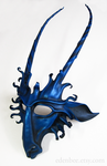 Goat leather mask in black and metallic royal blue by shmeeden