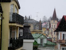 Snowy town by SchitzophrenicL