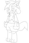 Zander The lucario line art by Sonic201000