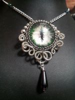 Evening Eye in Silver Coiled Wire with Purple Drop by BacktoEarthCreations
