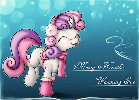 Sweetie Belle wishes you a Merry Hearth's Warming by Neko-me