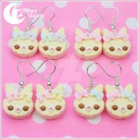 Pastel cute cookie rabbit Earrings by CuteMoonbunny