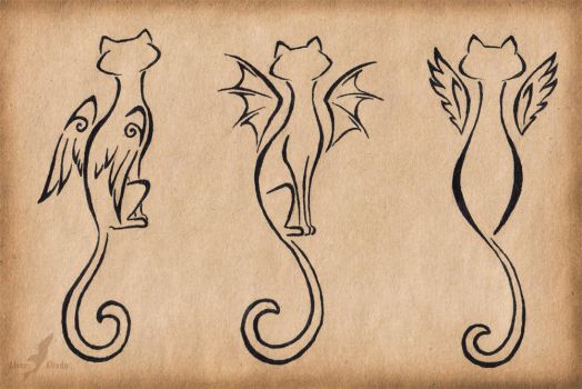 Winged cats trio - tattoo design by AlviaAlcedo