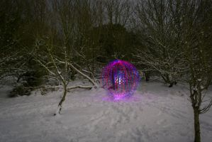 Red and Blue snow orb by chivt800