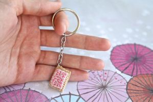 Kawaii Mini Amigurumi Cherry Pop-Tart Keychain by SkySinger92