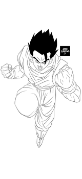 Lineart-Gohan Mistico by GokuSupremo15