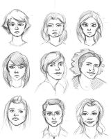 Lady faces by Kendra-candraw