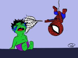 baby hulk and spiderman by Sew-What