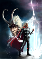 Thor and Loki by elz-art
