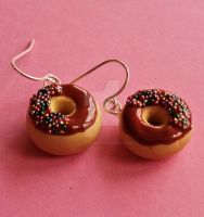 Chocolate Donut Charm Earrings by FatallyFeminine