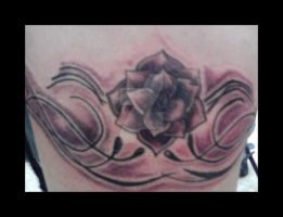 BLACK AND GREY FLOWY ROSES by DEMONGRAFIX666