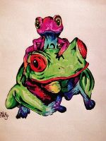 Tree Frogs by Panicatthedisco7