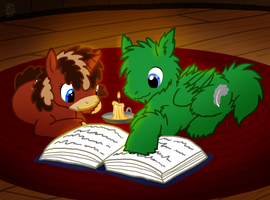 Fuzzball and Storyflight by DragonwolfRooke