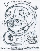 Dick the WWII Cat-Snake-Monster Cover Page by joshthecartoonguy