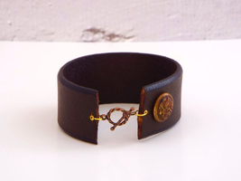steampunk leather military cuff bracelet by fripparie