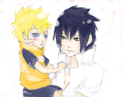 Chibi Naruto and Sasuke by Ragginess