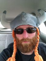 Selfportrait Viking Hat by Harkfast
