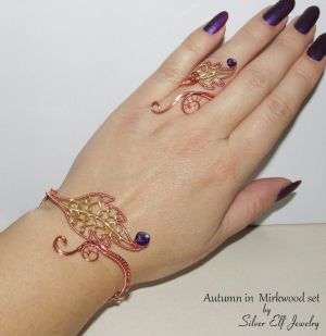 Autumn in Mirkwood bracelet and ring by Lyriel-MoonShadow
