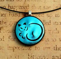 Calligraphy Cat Fused Glass Pendant Blue by FusedElegance