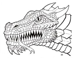 Dragon Head Line Art by TheRigger