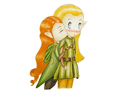Legolas and Tauriel by AlwinaGreenPeach