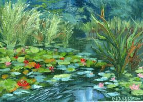 Pink Water Lilies Lake Painting Ekaterina Chernova by EkaterinaChernova