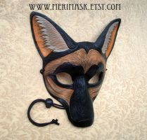 Black Coyote Leather Mask #1 by merimask