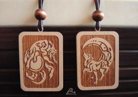 Sun and moon Wolves wood badges by J-C