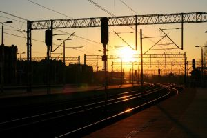 beautiful sunset at the railway station- Katowice by smileformealltime