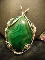 simple free form malachite pendant by BacktoEarthCreations