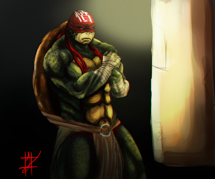 Raph warm-up painting by XxLevanaxX