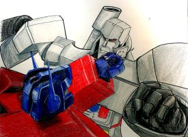 Optimus vs Megatron by Fire-Redhead