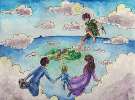 Peter Pan watercolor by TriaElf9