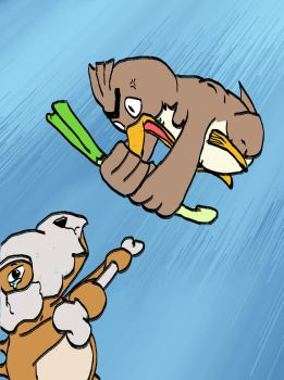 Farfetch'd vs Cubone by WilliamJPierce
