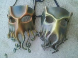 Cthulhu leather handmade masks by ParkersandQuinn