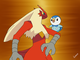 Blaziken and piplup by icaro382