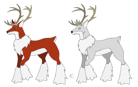 Red and White Snow Elk by PokeSpeBanette