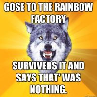 Wolf vs Rainbow factory by brandonthebeast34