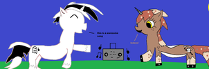 Art Trade:ghostdude and Mocha Song are jammy by FunnyGamer95