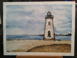 Lighthouse in Watercolor by JesseAcosta
